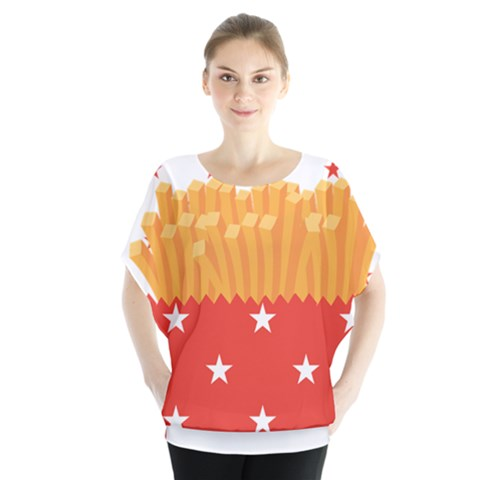 French Fries Batwing Chiffon Blouse by Wanni