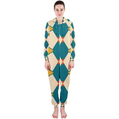 Blue Yellow Rhombus Pattern                                                                                 Hooded Jumpsuit (ladies) by LalyLauraFLM