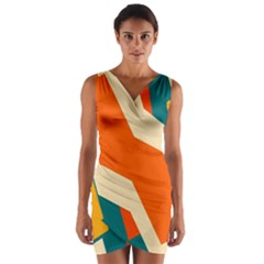 Shapes In Retro Colors                   Wrap Front Bodycon Dress