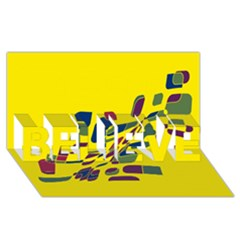 Yellow Abstraction Believe 3d Greeting Card (8x4)  by Valentinaart