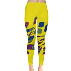 Yellow Abstraction Leggings  by Valentinaart