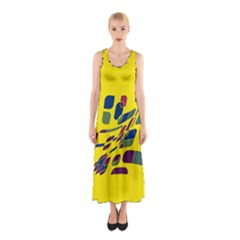 Yellow Abstraction Sleeveless Maxi Dress by Valentinaart