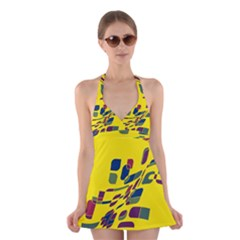 Yellow Abstraction Halter Swimsuit Dress by Valentinaart