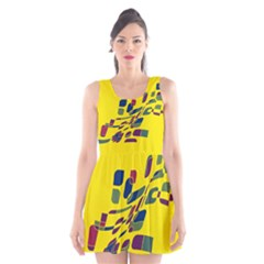 Yellow Abstraction Scoop Neck Skater Dress by Valentinaart