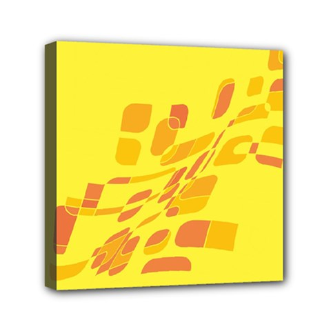 Yellow Abstraction Mini Canvas 6  X 6  by Valentinaart