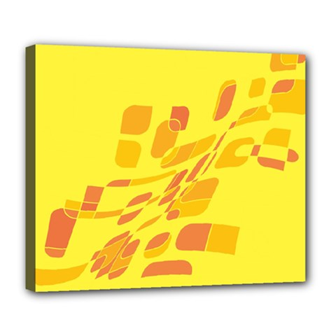 Yellow Abstraction Deluxe Canvas 24  X 20   by Valentinaart
