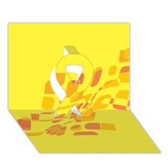 Yellow Abstraction Ribbon 3d Greeting Card (7x5)  by Valentinaart
