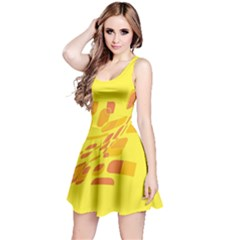 Yellow Abstraction Reversible Sleeveless Dress by Valentinaart