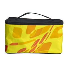 Yellow Abstraction Cosmetic Storage Case by Valentinaart