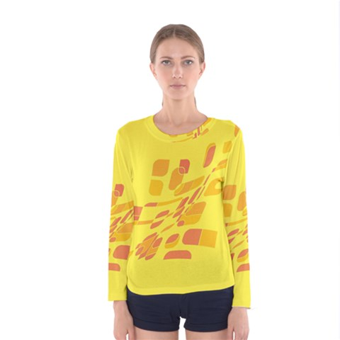 Yellow Abstraction Women s Long Sleeve Tee by Valentinaart