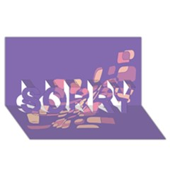 Purple Abstraction Sorry 3d Greeting Card (8x4)  by Valentinaart