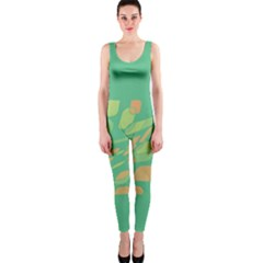 Green Abastraction Onepiece Catsuit