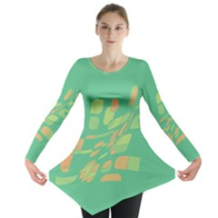 Green Abastraction Long Sleeve Tunic  by Valentinaart