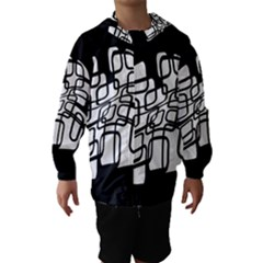 White Abstraction Hooded Wind Breaker (kids) by Valentinaart