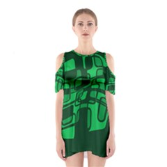 Green Abstraction Cutout Shoulder Dress by Valentinaart