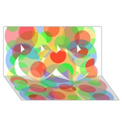 Colorful Circles Twin Hearts 3d Greeting Card (8x4)  by Valentinaart