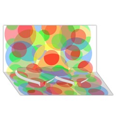 Colorful Circles Twin Heart Bottom 3d Greeting Card (8x4)  by Valentinaart