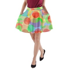Colorful Circles A Line Pocket Skirt