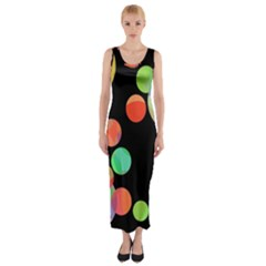 Colorful Circles Fitted Maxi Dress by Valentinaart