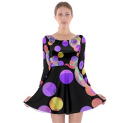 Colorful Decorative Circles Long Sleeve Skater Dress by Valentinaart
