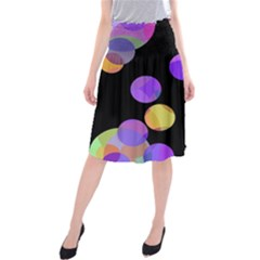 Colorful Decorative Circles Midi Beach Skirt by Valentinaart