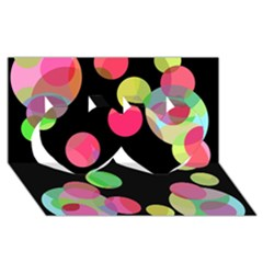 Colorful Decorative Circles Twin Hearts 3d Greeting Card (8x4)  by Valentinaart