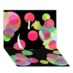 Colorful Decorative Circles Apple 3d Greeting Card (7x5)