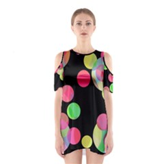 Colorful Decorative Circles Cutout Shoulder Dress by Valentinaart