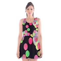 Colorful Decorative Circles Scoop Neck Skater Dress