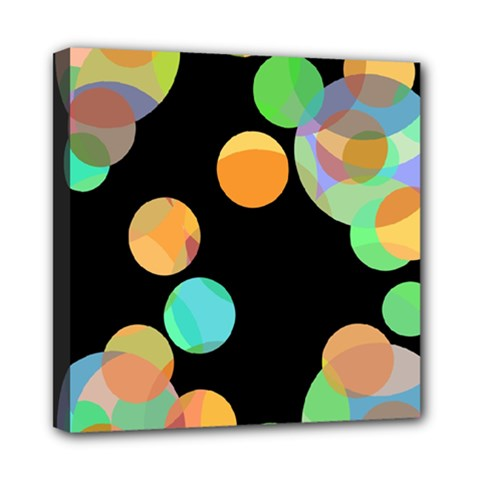 Orange Circles Mini Canvas 8  X 8  by Valentinaart