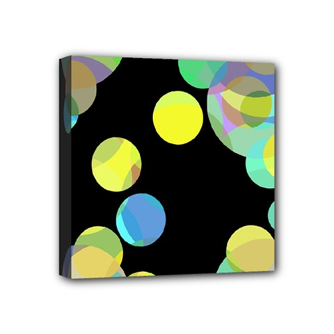 Yellow Circles Mini Canvas 4  X 4  by Valentinaart