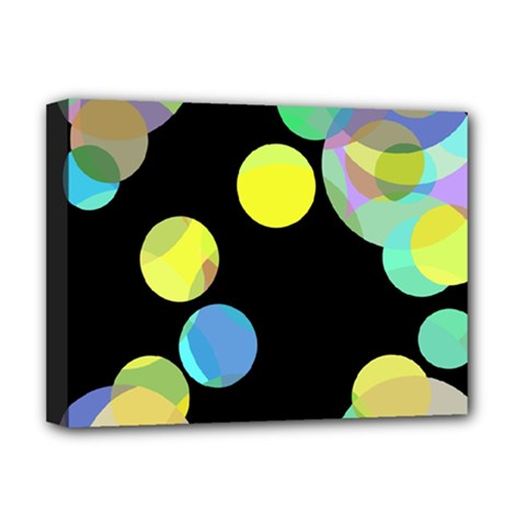 Yellow Circles Deluxe Canvas 16  X 12   by Valentinaart