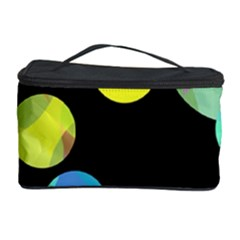 Yellow Circles Cosmetic Storage Case by Valentinaart