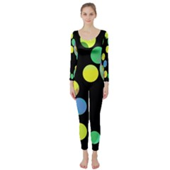 Yellow Circles Long Sleeve Catsuit by Valentinaart