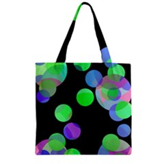 Green Decorative Circles Zipper Grocery Tote Bag by Valentinaart
