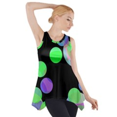 Green Decorative Circles Side Drop Tank Tunic by Valentinaart