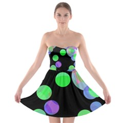 Green Decorative Circles Strapless Dresses by Valentinaart