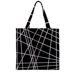 Black And White Simple Design Zipper Grocery Tote Bag by Valentinaart