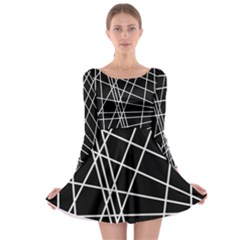 Black And White Simple Design Long Sleeve Skater Dress by Valentinaart