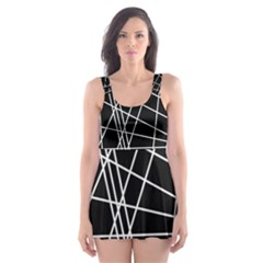 Black And White Simple Design Skater Dress Swimsuit