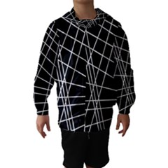 Black And White Simple Design Hooded Wind Breaker (kids) by Valentinaart