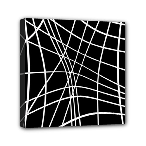 Black And White Elegant Lines Mini Canvas 6  X 6  by Valentinaart