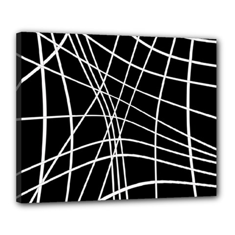 Black And White Elegant Lines Canvas 20  X 16  by Valentinaart