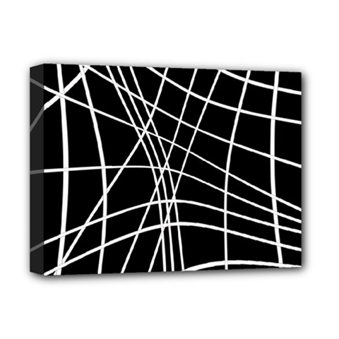 Black And White Elegant Lines Deluxe Canvas 16  X 12   by Valentinaart