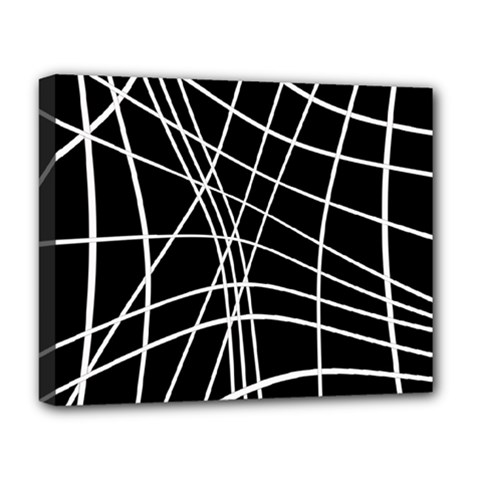 Black And White Elegant Lines Deluxe Canvas 20  X 16   by Valentinaart