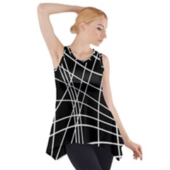 Black And White Elegant Lines Side Drop Tank Tunic by Valentinaart