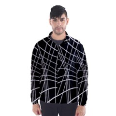 Black And White Elegant Lines Wind Breaker (men) by Valentinaart