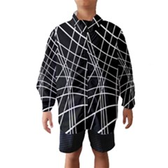 Black And White Elegant Lines Wind Breaker (kids) by Valentinaart
