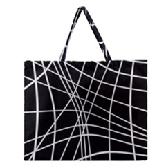 Black And White Elegant Lines Zipper Large Tote Bag by Valentinaart