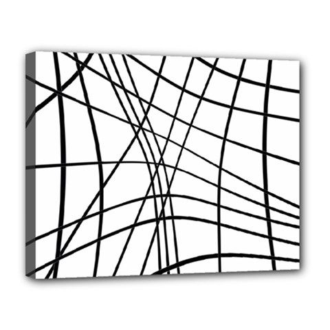 Black And White Decorative Lines Canvas 14  X 11  by Valentinaart